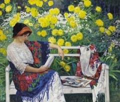 3 Nikolai Petrovich Bogdanov-Belsky (Russian painter, 1868-1945)   Reading in the Garden 1915